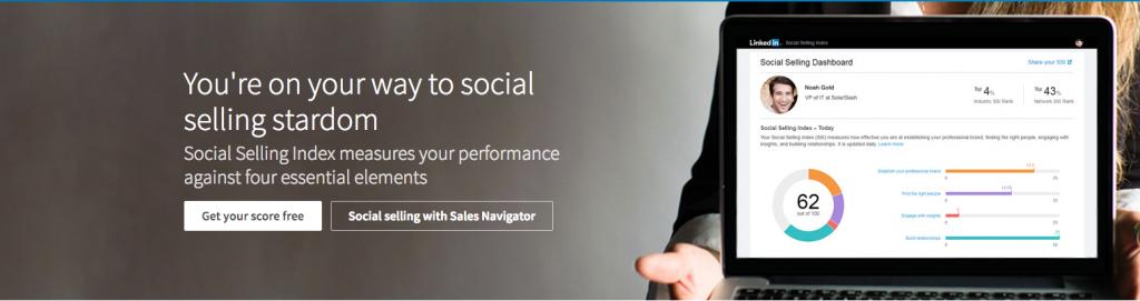 Le bouton lien pour calculer son score SSI Social Selling Index