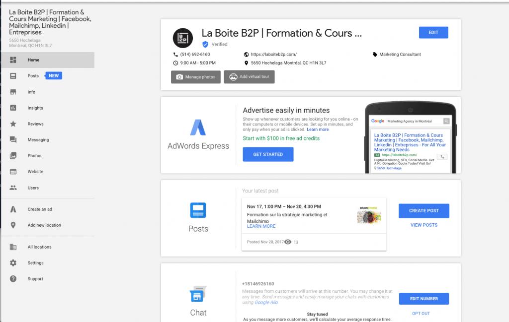 Linkedin, Formation Fiche Google Mon Entreprise, La Boite B2P