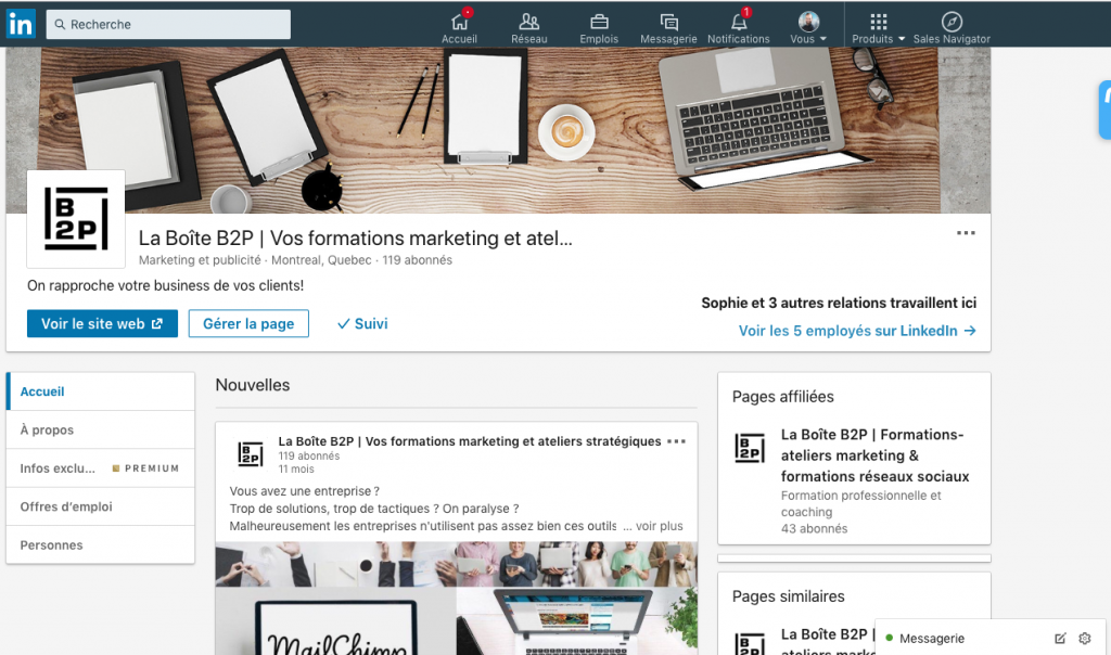 LinkedIn Page Entreprise LA Boite B2P Formation marketing