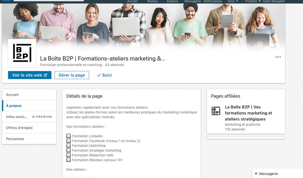 Page vitire de LinkedIn page entreprise La Boite B2P